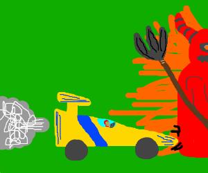 racer drives into satan
