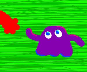 purple blob reaches for elmo's lost arm