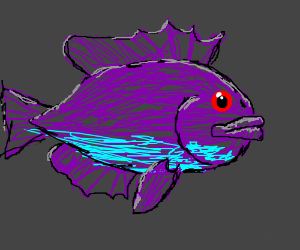 a purple fish with red eyes