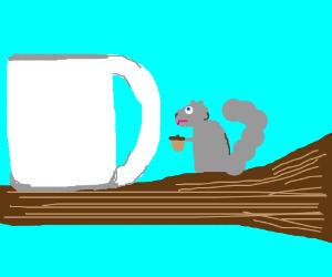 How does one insert an acorn into a mug?