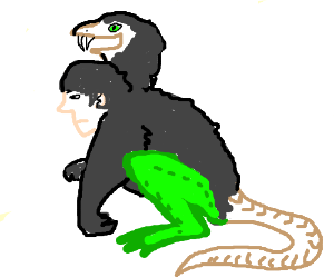 Two headed Gorilla, Human, Frog, Snake hybrid
