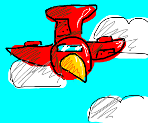 red birdplane comes out of the clouds