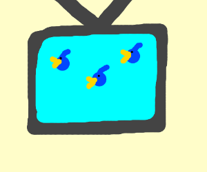three sad birds on tv
