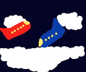 blue and red airplanes in the sky