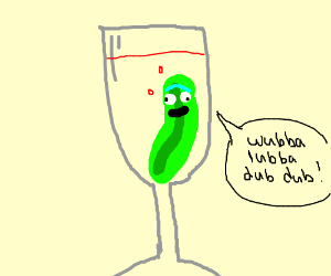 Pickle Rick in a glass