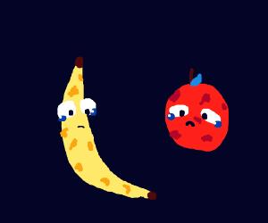 moldy apple and banana crying