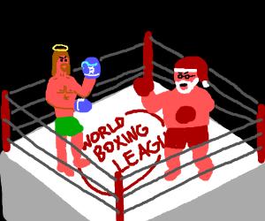 santa claus vs jesus boxing match - Santa Claus And Jesus 2