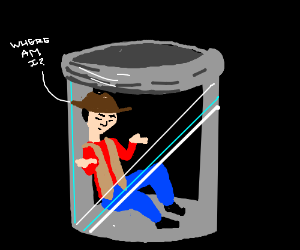 Cowboy in a jar asking where he is