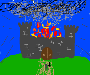 castle burning and man runs into the fire