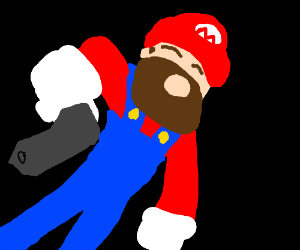 Mario with beard and gun