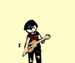 Emo kid playing ukulele