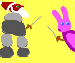 Santa golem fences with the Easter Bunny