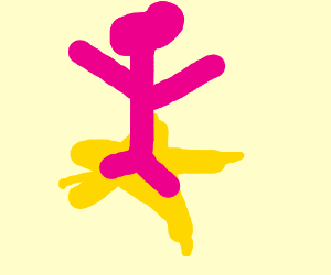 pink dude riding a jazza star