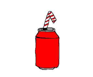 a straw in a generic soda can
