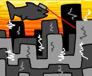 Giant Laser shark attacks city