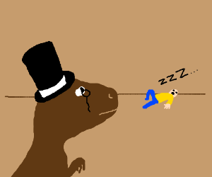 a fancy dinosaur looking at a sleeping person