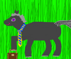 Four-legged businessman with a huge gray mane
