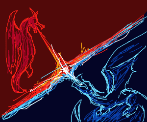 Fire and ice dragons fight - Drawception