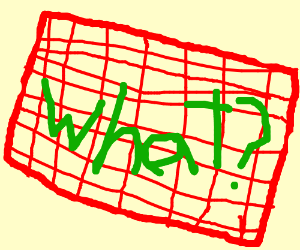"square piece of red net and ""what?"""