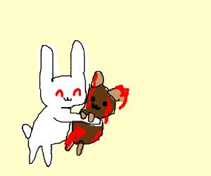 Shocked albino bunny embraces bloody hamster