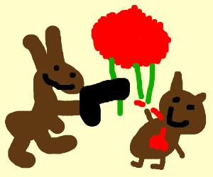 Kangaroo kills possum with red tip