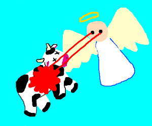 angel kills cows with laser sight