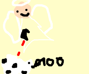 Angel shoots a laser at a deformed cow