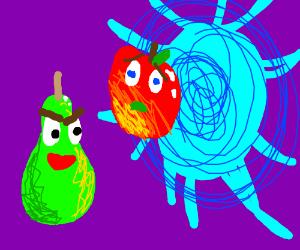pear throwig apple in a portal