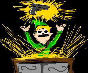 Link finds a gun in a chest