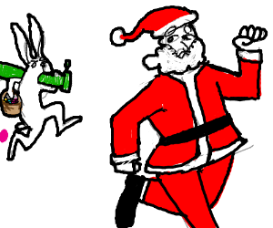 Rabbit with a Bazooka hunting down Santa