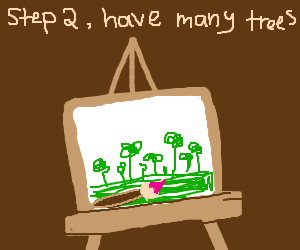 step one: draw a happy little tree