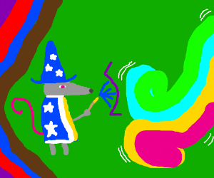 the mouse mage fights the onslaught of neon
