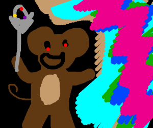 Monke holding the wand from ni no kuni and wet