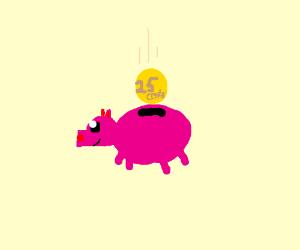 Cutest little piggybank gets 25 cents