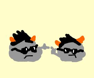 Dapper grey blobs, orange horns en black hair