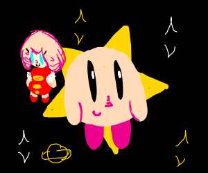 Kirby and Ribbon Flying Through Space