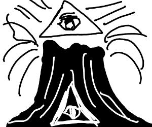 black & white volcano with an illuminati sign