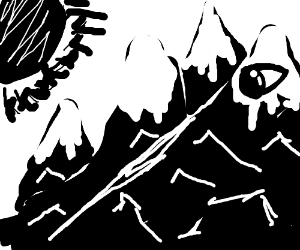 Mountain with an eyeball and the sun