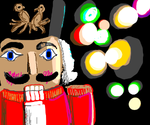 Nutcracker and colorful lights