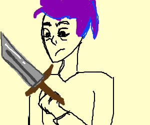 purple haired man with a sword