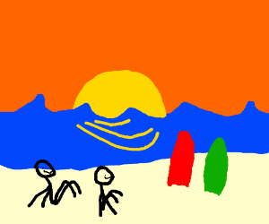 Surfer Couple Watching Sunset on Beach