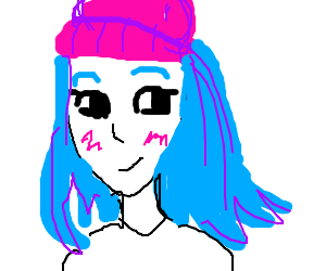 A girl with blue hair and a pink beanie