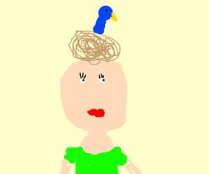 Woman with bird nest as hair