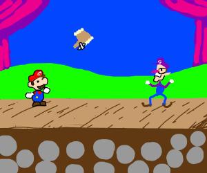 Paper Mario threw dusty hammer at waluigi