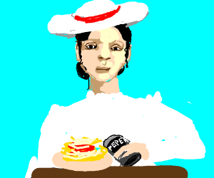 a sweaty lady drips pepers over spageti