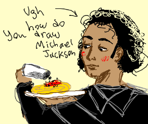 Michael Jackson puts black pepper on spaghetti