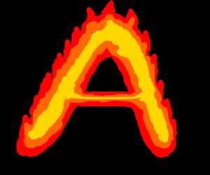 the letter a on fire