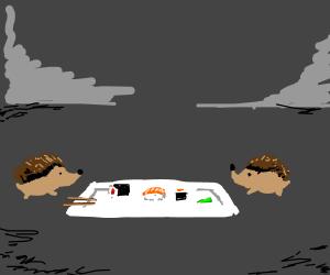 Porcupines enjoy sushi