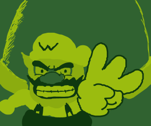 Wario making the W-sign with his fingers