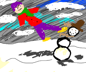 kicking off a snowman's head